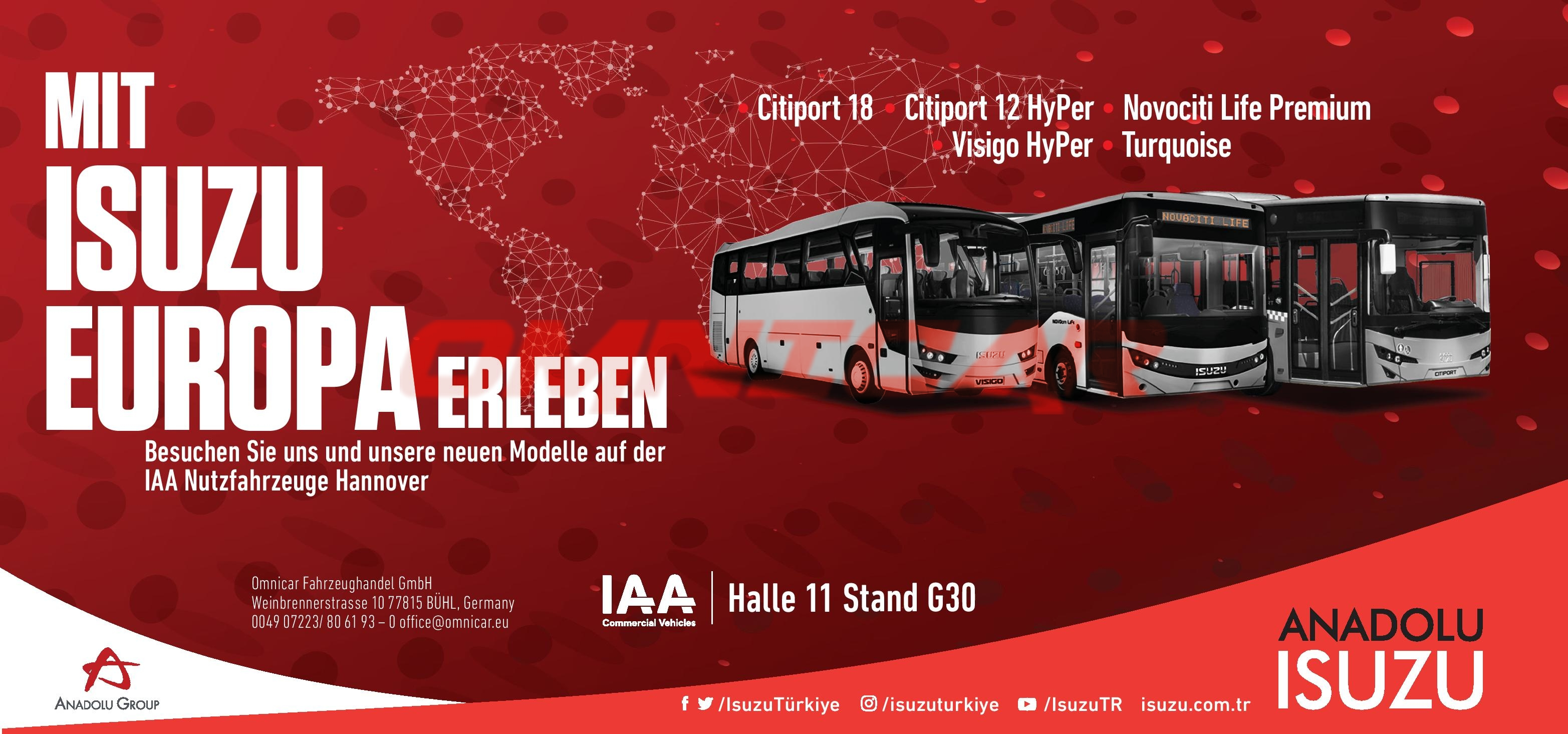Omnicar als Vertreter der Isuzu Busse in Deutschland. Besuchen Sie uns auf der IAA 2018 um unsere Neue Modelle von Isuzu Busse zu entdecken.