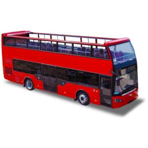 Bus panoramique double étage Open top cabriolet toit amovible avec bâche encastrable